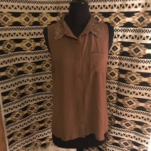 Sequined Sheer Blouse